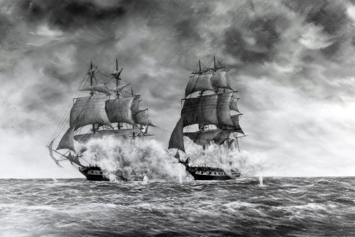 NH 85529-KN:   USS Constellation versus French frigate la Vengeance, engagement off West Indies, February 1, 1800.  Artwork by Arthur N. Disney, Sr.