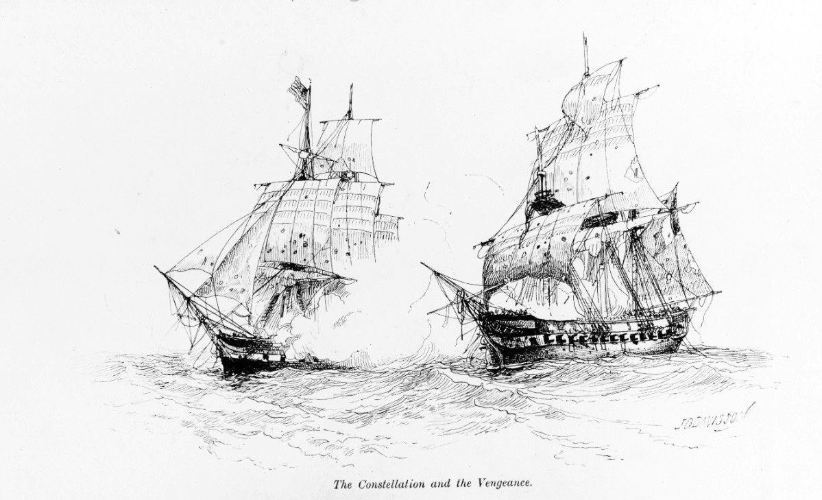 NH 60618:   USS Constellation versus French frigate la Vengeance in the West Indies, February 1, 1800.  Artwork by J. O. Davidson