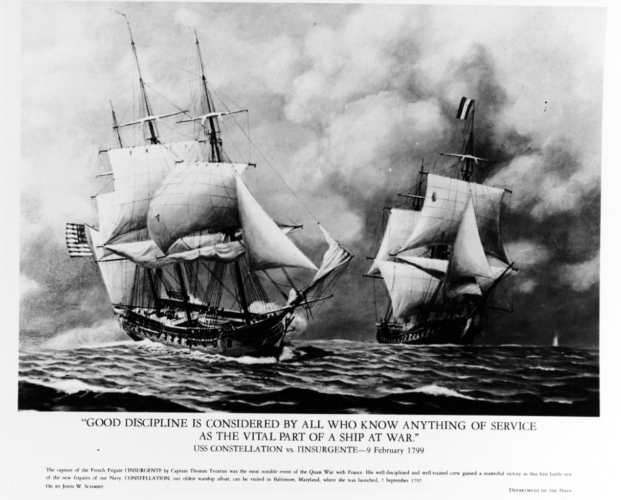 NH 66417-KN:   USS Constellation vs French frigate l'Insurgente, 9 February 1799.   Quasi-War with France.   Lithograph of an oil painting by John W. Schmidt.   Courtesy of the Navy Art Collection.