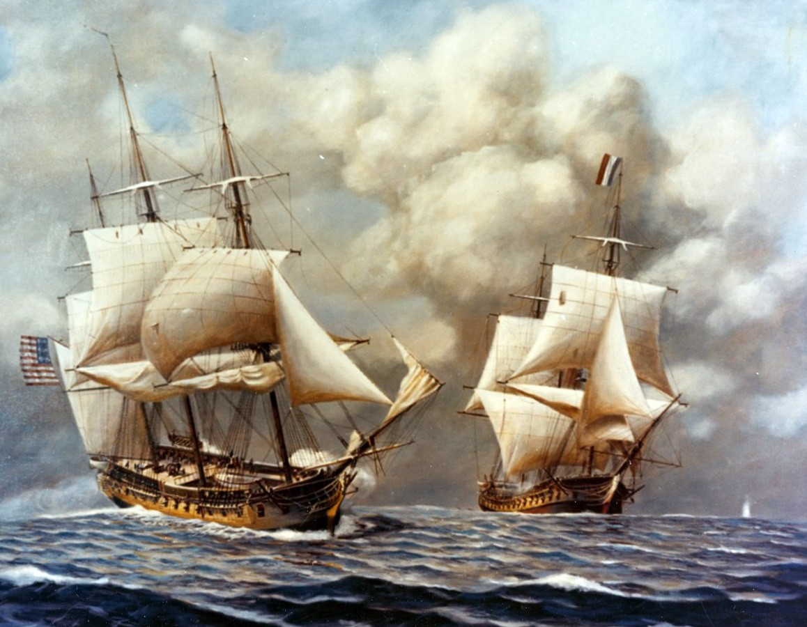 "<p><span style=""font-family: &quot;Book Antiqua&quot;, serif; font-size: 13.3333px;"">USS Constellation vs French frigate l'Insurgente, February 9, 1799 Artwork by Rear Admiral John W. Schmidt, USN, (Retired).&nbsp;</span></p>"