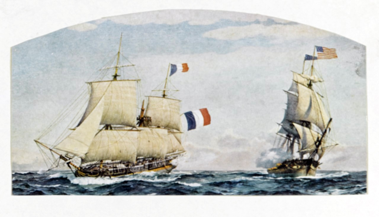 "<p><span style=""font-family: &quot;Book Antiqua&quot;, serif; font-size: 13.3333px;"">USS Constellation vs French frigate l'Insurgente, February 9, 1799.&nbsp;&nbsp;&nbsp;&nbsp;Artwork from a painting by Charles R. Patterson.&nbsp;&nbsp;</span></p>"