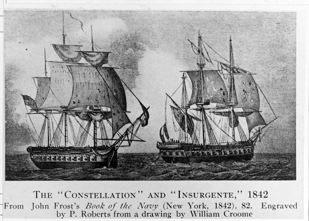 "<p><span style=""font-family: &quot;Book Antiqua&quot;, serif; font-size: 13.3333px;"">USS Constellation vs French frigate l'Insurgente, February 9, 1799.&nbsp;&nbsp;&nbsp;&nbsp;Copied from ""Book of the Navy,"" by John Frost.&nbsp;&nbsp;Engraved by P. Roberts.&nbsp;&nbsp;Drawn by William Croome.&nbsp;</span></p>"