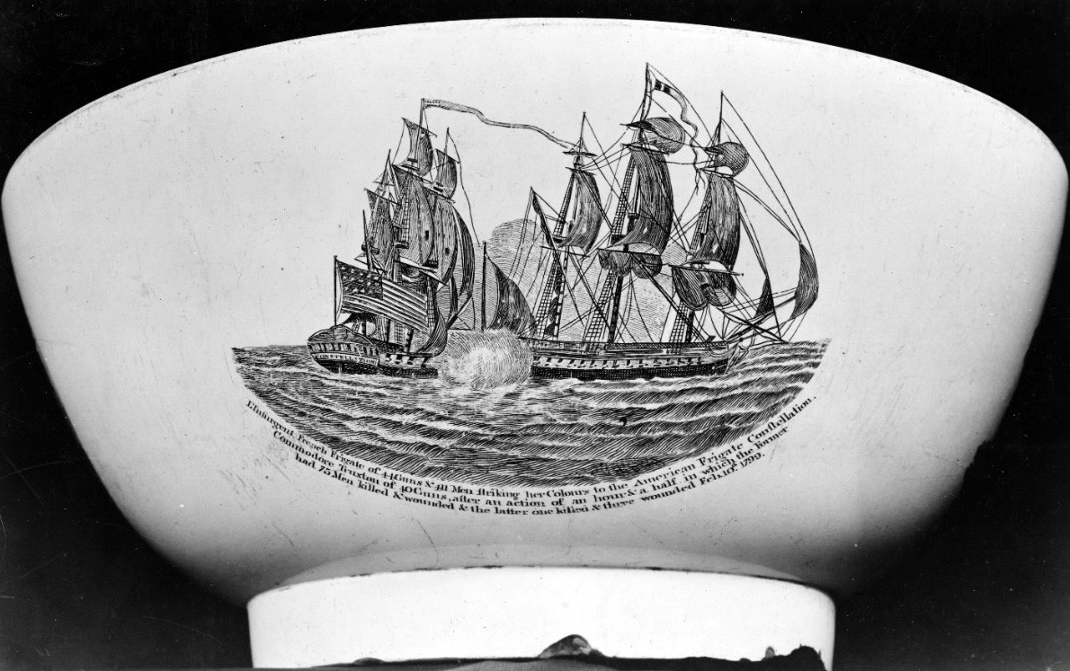 "<p><span style=""font-family: &quot;Book Antiqua&quot;, serif; font-size: 13.3333px;"">USS Constellation vs French frigate l'Insurgente, 9 February 1799.&nbsp;&nbsp;Engraving on a commemorative punch bowl by J. Lovell Little.&nbsp;&nbsp;&nbsp;</span></p>"