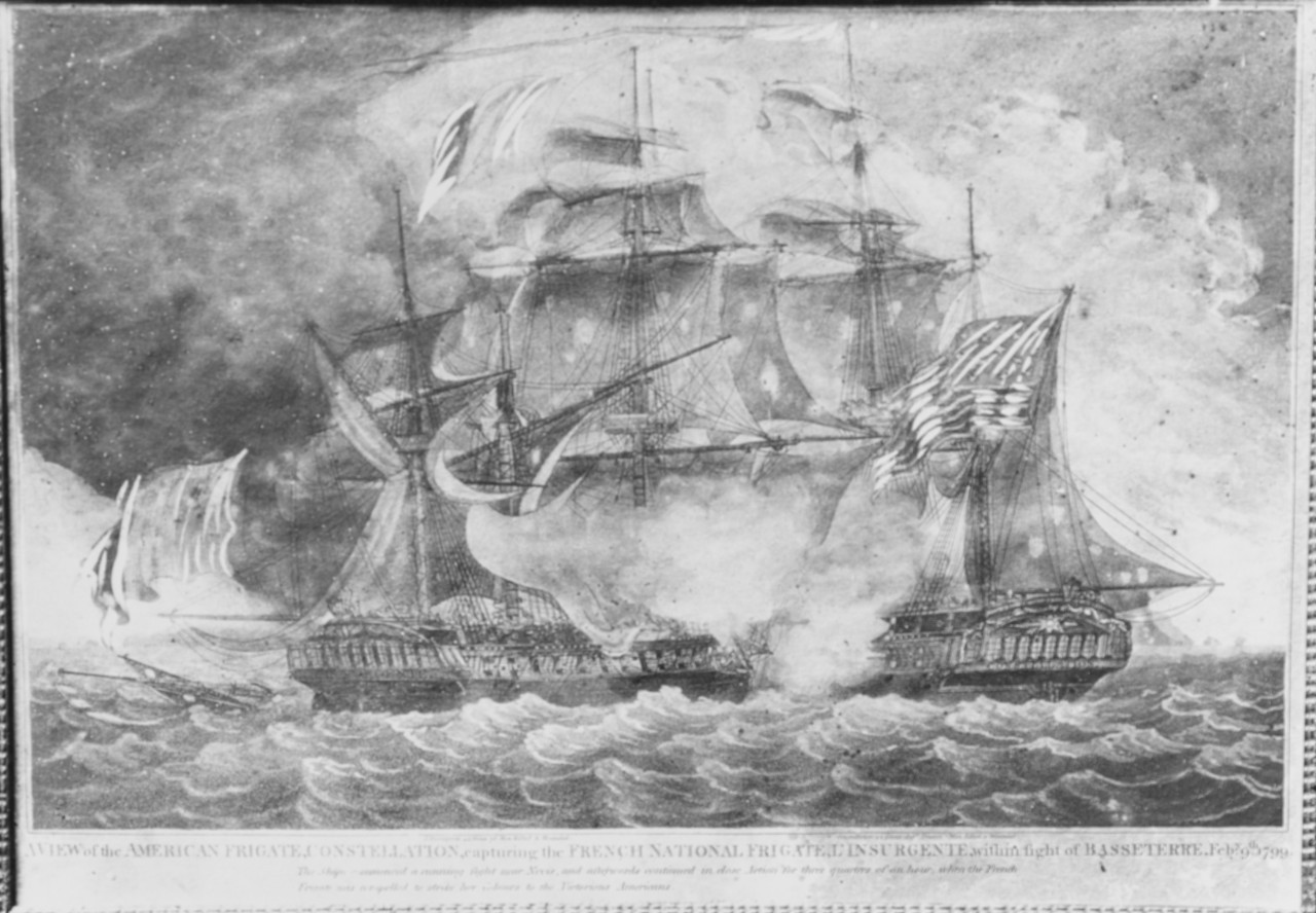 "<p><span style=""font-family: &quot;Book Antiqua&quot;, serif; font-size: 13.3333px;"">USS Constellation vs French frigate l'Insurgente within view of Basseerre, February 9, 1799.&nbsp;&nbsp;&nbsp;&nbsp;Copied from the Collection of Franklin D. Roosevelt, Corcoran Gallery, # 190.&nbsp;&nbsp;</span></p>"