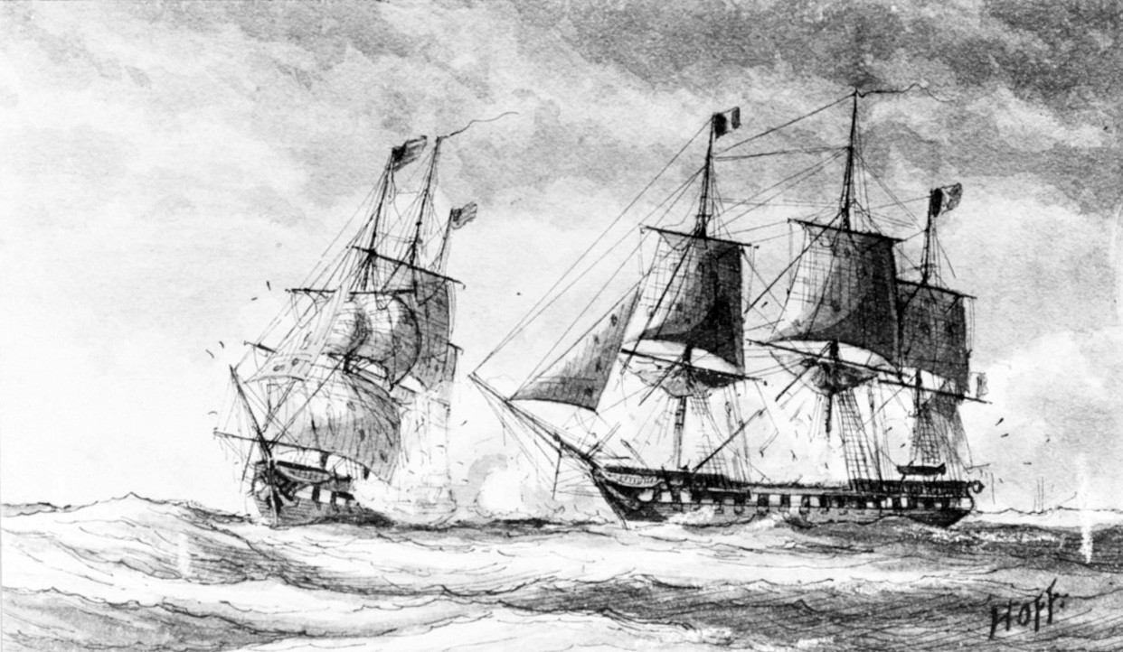 "<p><span style=""font-family: &quot;Book Antiqua&quot;, serif; font-size: 13.3333px;"">USS Constellation vs French frigate l'Insurgente within view of Basseerre, February 9, 1799.&nbsp;&nbsp;&nbsp;&nbsp;Photograph of a sketch by Bainbridge Hoff.&nbsp;&nbsp;</span></p>"