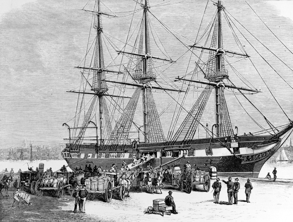 NH 55378:  USS Constellation (1855-1953), loading famine relief supplies for Ireland at New York City Navy Yard, March 1880.   NHHC Photograph Collection.