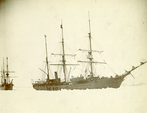 NH 2145:  Greely Relief Expedition, May - August 1884.  USS Thetis (1884-1899) in the ice off Horse Head Island, Greenland on 4 June 1884, early in the search for survivors of the Greely polar exploration party.  USS Bear (1884-1885, later AG-29) is astern (at left).  NHHC Photograph Collection.