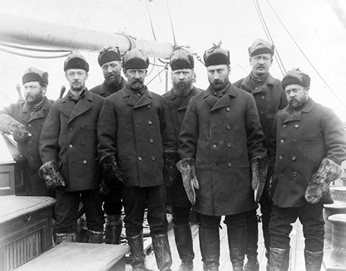 USN 900732: Greely Relief Expedition, May-August 1884.   Officers of the steamer, USS Thetis, Commanding Officer, Commander Winfeld Scott Schley, is fourth from the left.   NHHC Photograph Collection.