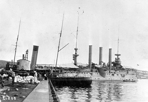 NH 56585:  USS Brooklyn (Cruiser #3), in port, Vladivostok, Russia, 1919-20.   NHHC Photograph Collection