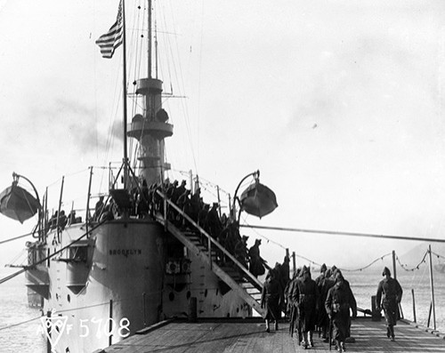 111-SC-76186:  USS Brooklyn (Cruiser #3) at Vladivostok, Russia, 1918.  U.S. Army photograph, now in the collections of the National Archives.