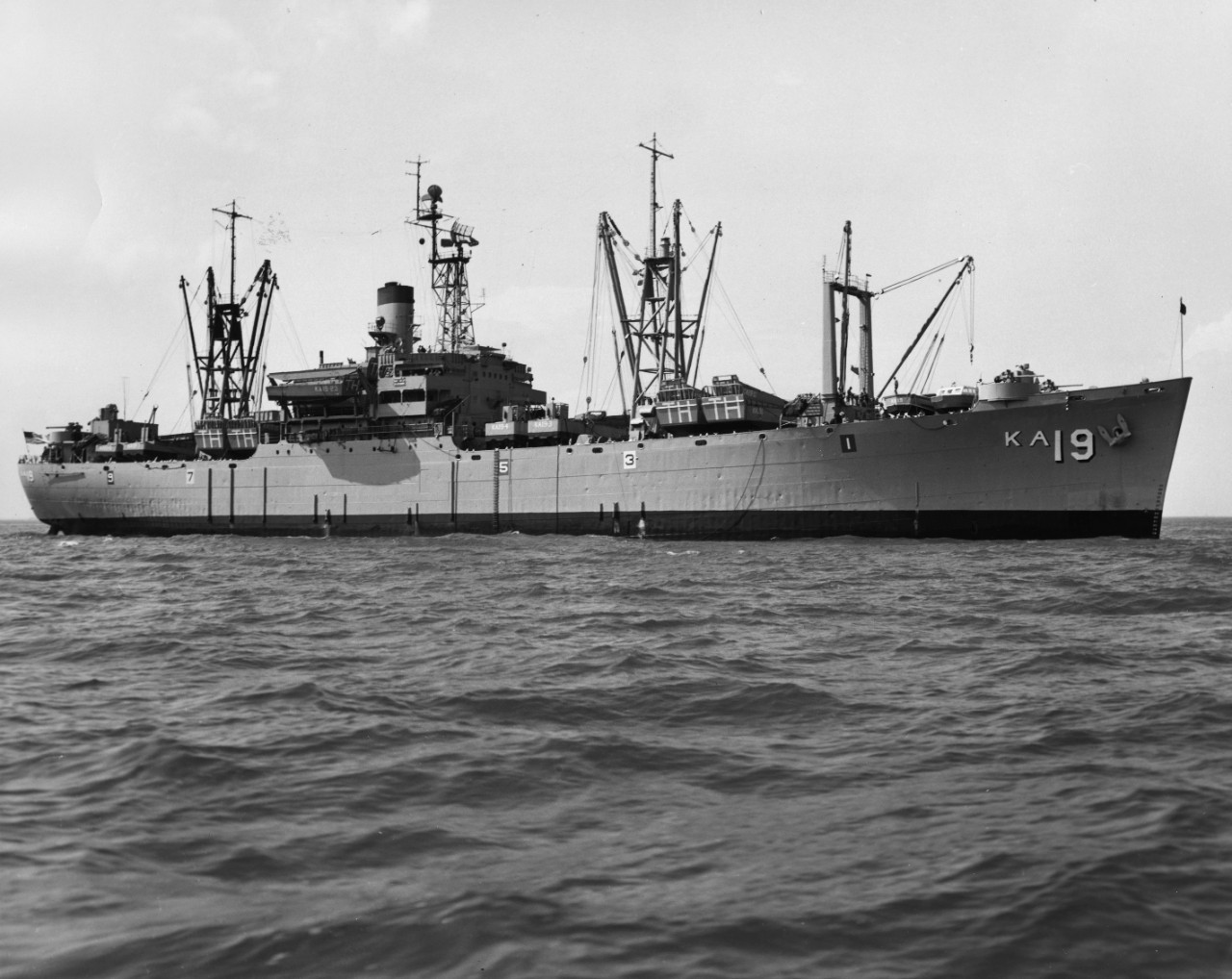 L45-281.02.01:  USS Thuban (AKA-19), starboard view of attack cargo ship, 1963.   NHHC Photograph Collection.