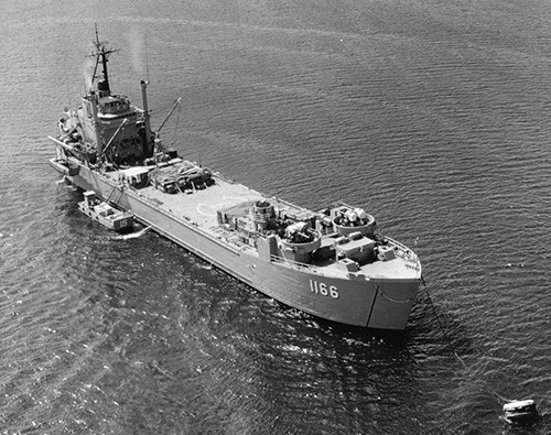 K-78101:  USS Washtenaw County (LST-1166), moored in Subic Bay, Philippines, October 4, 1969.   U.S. Navy Photographs, now in the collection of the National Archives.