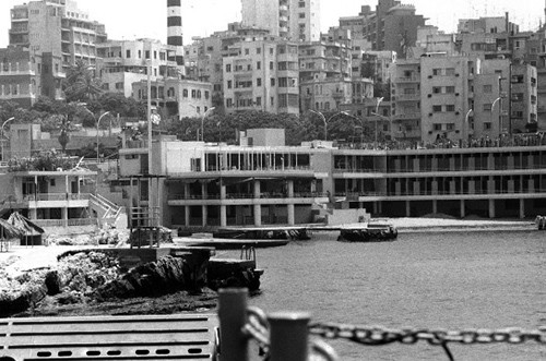 Beirut, Lebanon.  View of the war torn city from LCI 1654.  The craft was involved with removing refugees to the USS Spiegel Grove (LSD 32) off shore during Operation Fluid Drive.   The Spiegel Grove took 276 people to safety in Athens, Greece.    Photographed by PH1 A.J. Ringuette, 20 Jun 1976.   NHHC Photograph Collection, Navy Subject Files, Wars and Events.