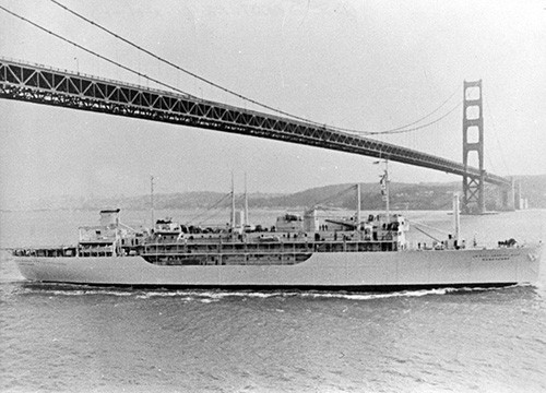 L45-253.02.01:  USS Sanctuary (AH-17) passing underneath the Golden Gate Bridge, San Francisco Bay, California, undated.   NHHC Photograph Collection.