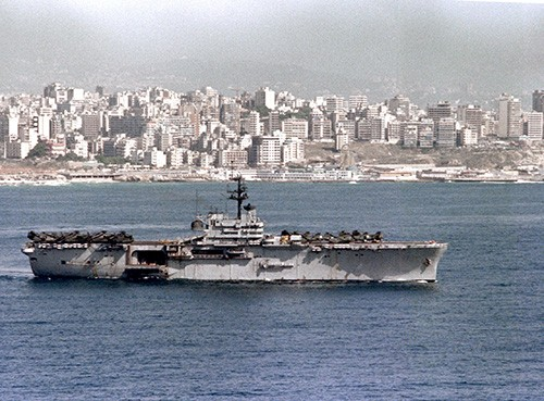 330-CFD-DN-SC-84-00749:   USS Guadalcanal (LPH 7), an aerial starboard beam view of the amphibious assault ship off Beirut, Lebanon, May 13, 1983.  Official U.S. Navy Photograph, now in the collections of the National Archives.