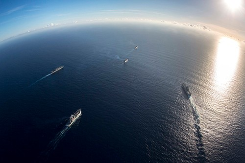 170919-N-MC499-271:    USNS William McLean (T-AKE 12), USS Kearsarge (LHD 3) USS Wasp (LHD 1), SS Wright (T-AVB-3), and USS Oak Hill (LSD 51), transit the Caribbean Sea. Kearsarge, Wasp, Oak Hill, McLean, and Wright are assisting with relief efforts in the aftermath of Hurricane Irma.  Photographed on September 19, 2017 by Mass Communication Specialist 3rd Class Dana D. Legg.  Official U.S. Navy photograph.