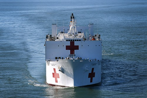 170929-N-ZN152-0010:   The Military Sealift Command hospital ship USNS Comfort (T-AH 20) departs Naval Station Norfolk to support humanitarian relief operations.   Photographed on September 29, 2017 by Mass Communication Specialist 1st Class Ernest R. Scott.  Official U.S. Navy photograph.