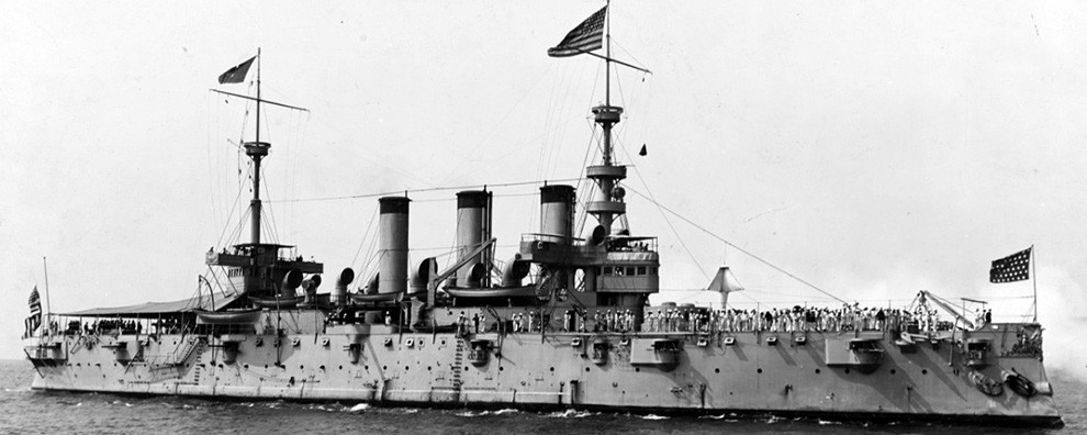 USS New York (Armored Cruiser #2), during the Spanish-American War victory fleet review, August 1898.  NHHC Photograph Collection.