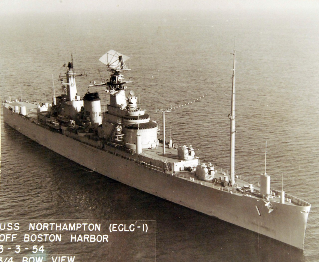 80-G-634774:  USS Northampton (CLC-1), 1954.    ¾ bow view off Boston Harbor, Massachusetts, March 3, 1954. Official U.S. Navy Photograph, now in the collections of the National Archives.  Same as 80-G-199191. (2017/11/15).