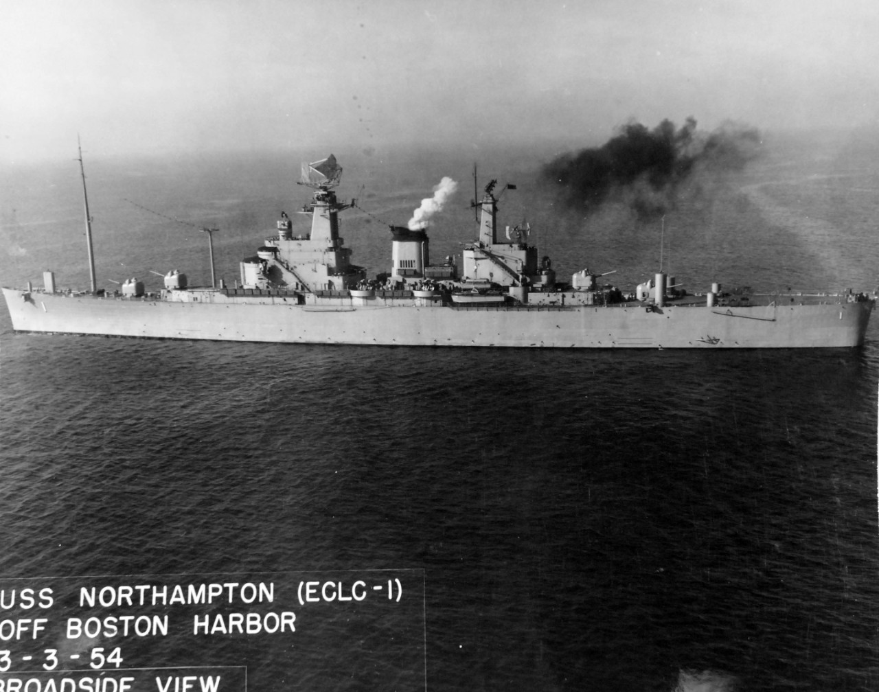 80-G-634775:  USS Northampton (CLC-1), 1954.   Northampton off Boston Harbor, Massachusetts, broadside view, March 3, 1954.   Official U.S. Navy Photograph, now in the collections of the National Archives.  Same as 80-G-199190 (2017/11/15).