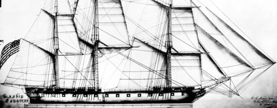 USS Congress, 1799-1834, plan of Spars and Sails by C. Ware, Boston Navy Yard, circa 1819.l   Original plan is in the National Archives.  NHHC Photograph Collection, NH 57005.
