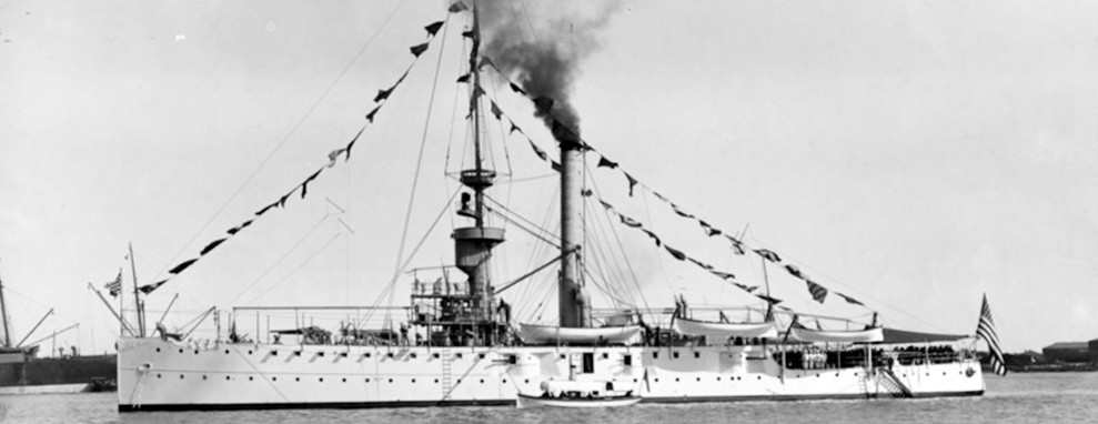 NH 53500:  USS Helena (PG-9), photographed in Far Eastern waters sometime after 1899 while dressed with flags for a holiday.  NHHC Photograph Collection.