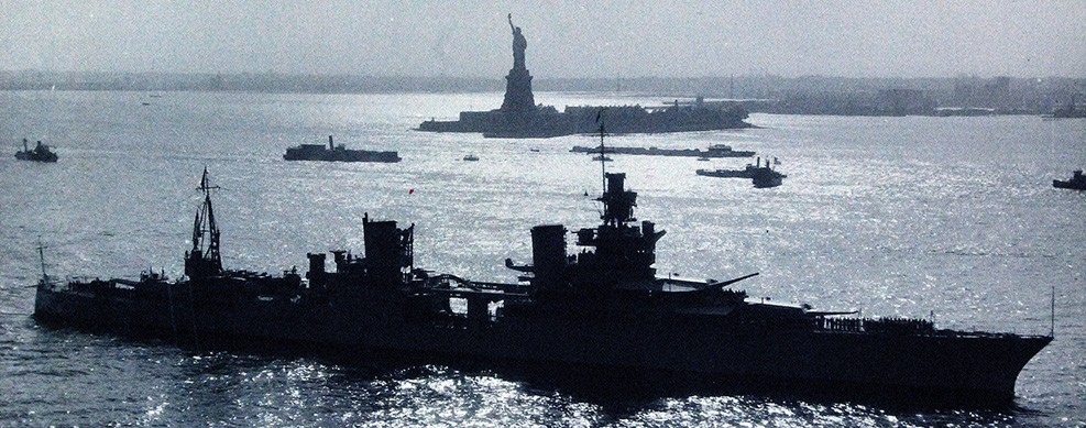 Image:   80-G-463032:   USS Indianapolis (CA 35) entering Hudson River, New York City, New York, with the Statue of Liberty in the background, May 31, 1934.  (4/14/2015).