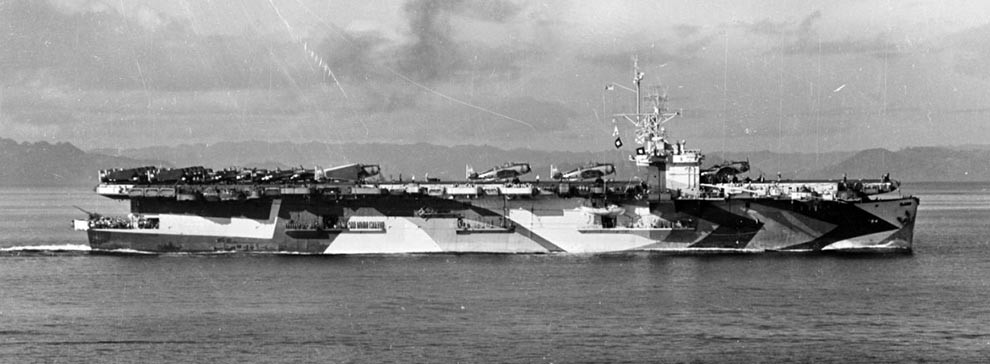 NH 99106:  USS Lunga Point (CVE-94), operating with Task Force 77.4 in the Mindanao Sea, Philippines, January 3, 1945.    NHHC Photograph Collection.
