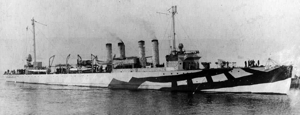 NH 46647:  USS Manley (Destroyer #74), wearing WWI pattern camouflage, 1918.   NHHC Photograph Collection.