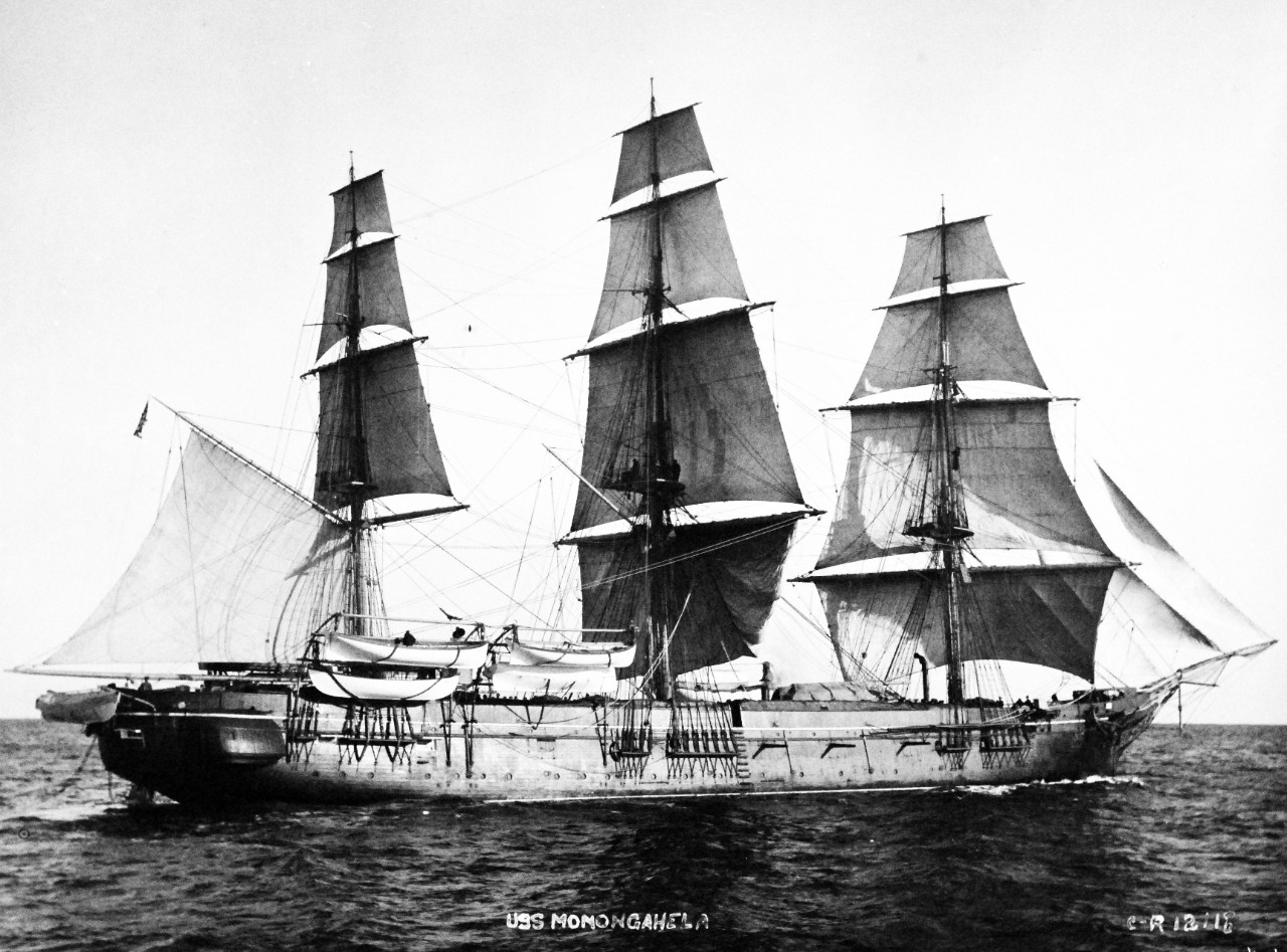 19-N-12118:  USS Monongahela, later 1890s.  Starboard view while under sail while serving as the U.S. Naval Academy Practice Ship.   Official U.S. Navy Photograph, now in the collections of the National Archives.   (2014/7/10).