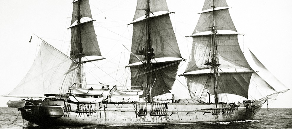 19-N-12118:  USS Monongahela, later 180s.  Starboard view while under sail while serving as the U.S. Naval Academy Practice Ship.   Official U.S. Navy Photograph, now in the collections of the National Archives.   (2014/7/10).