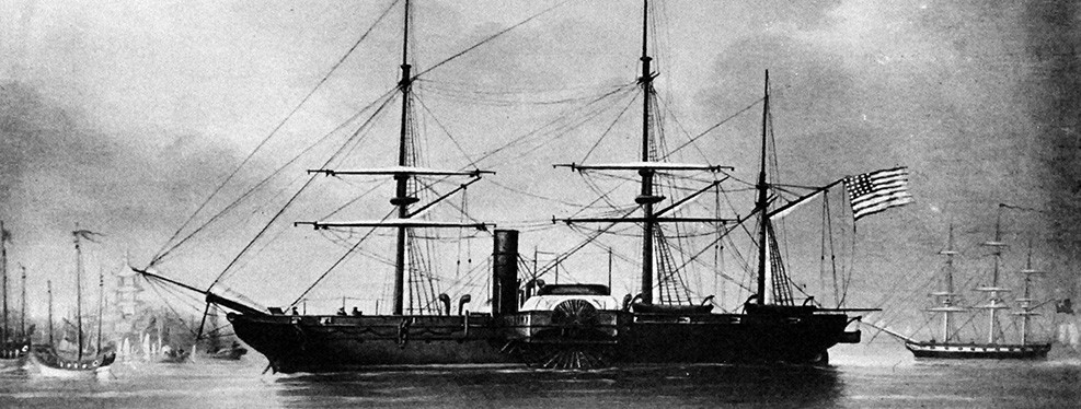 19-N-8697: USS Powhatan in a Chinese port. From a painting made in China, possibly by Edward Trenchard, 1859.   Also at NHHC as NH 42663.