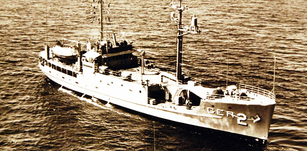 428-GX-KN-15717:  USS Pueblo (AGER-2), the environmental research ship underway.  Photographed received January 1968.  Official U.S. Navy Photograph, now in the collections of the National Archives.  (2015/05/23).