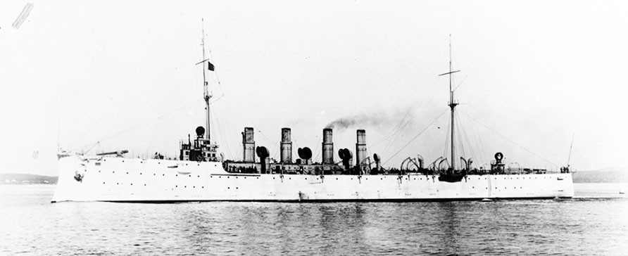 NH 44245:  USS Salem (Scout Cruiser #3), underway during her trials, Trial Run 3, South, making 13.76 knots, circa 1908. NHHC Photograph Collection.