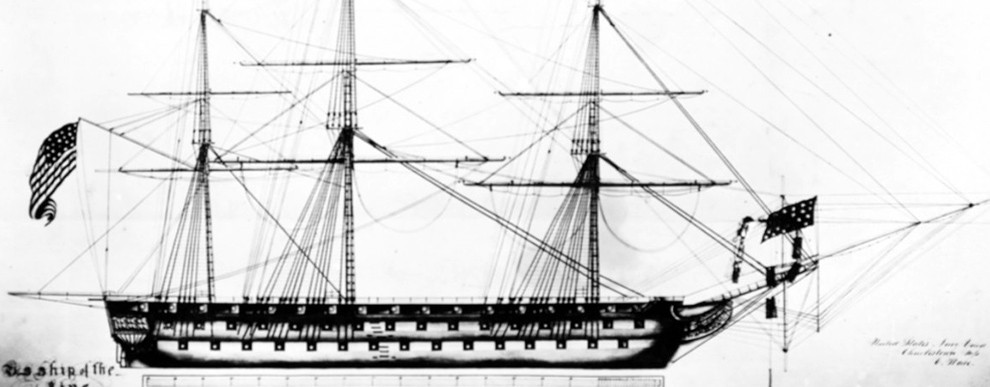 NH 57004:  USS Vermont (1818-1902). Plan of spars and rigging by C. Ware, Boston Navy Yard, 1840. NHHC Photograph Collection.