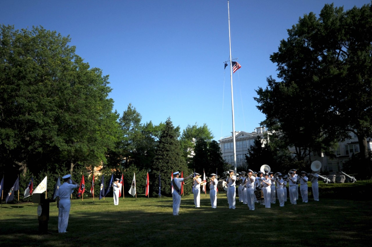 110614-N-HG258-045:   Leutze Park, Washington Navy Yard, 2011.    U.S. Navy Ceremonial Band performs the National Anthem as the American flag is raised during morning colors at Leutze Park at the Washington Navy Yard on Flag Day, June 14.   Photographed by Chief Musician Stephen Hassay.   Official U.S. Navy Photograph.