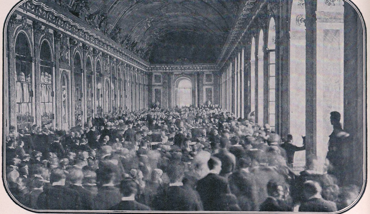 LC-DIG-ppmsca-07634: Dignitaries gathered in the Hall of Mirrors at Versailles to sign the peace treaty ending World War I, June 28, 1919.    Courtesy of the Library of Congress.