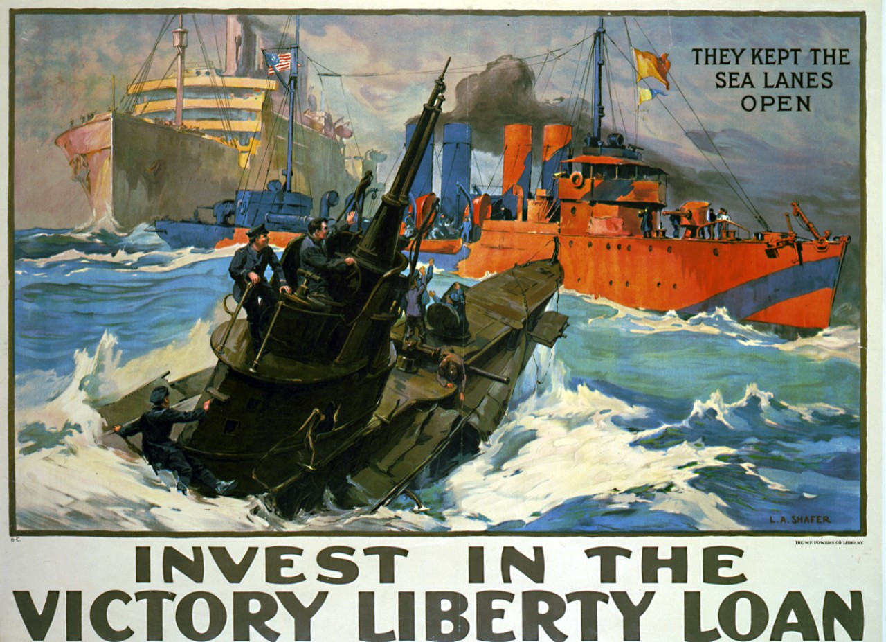 "LC-USZC4-2004:  WWI-Liberty Loan Poster.   ""Invest in the Victory Liberty Loan / They Kept the Sea Lanes Open.""  Artwork by Leon A. Shafer, 1919.   Poster shows a German U-boat submarine and a razzle-dazzle destroyer steaming in to protect the merchant ship from being attacked.  Courtesy of the Library of Congress."