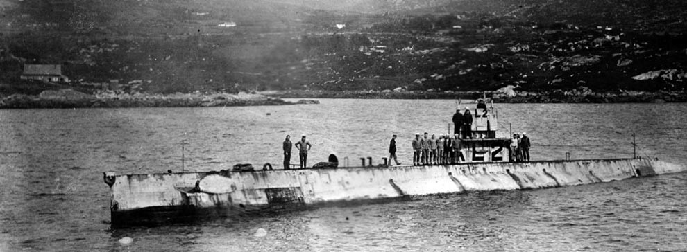 NH 51121:  USS AL-2. (Submarine # 41) In Bantry Bay, Ireland, in 1918. A copy of this photograph in the collection of Vice Admiral Paul F. Foster, USNR (Retired), L-2's World War I Commanding Officer, has the following caption: The USS AL-2 in Bantry Bay, Ireland, after encounter with the German Submarine UB-65 on July 10, 1918 off Fastnet Light, Ireland, which resulted in the sinking of the UB-65. U.S. Naval History and Heritage Command Photograph.
