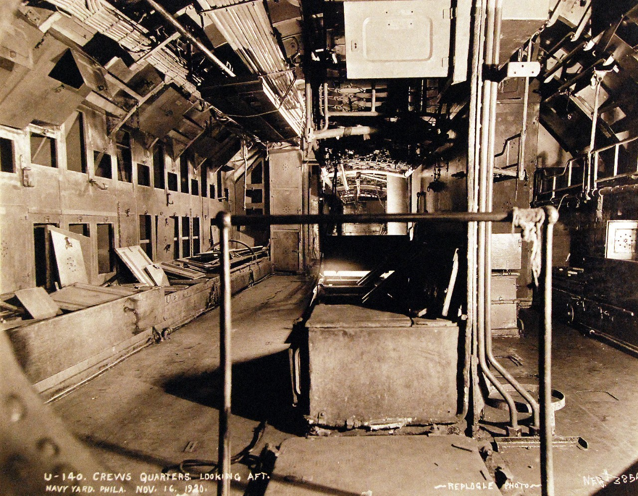 19-N-3854:   German submarine, U-140, interior view of crew quarters, looking aft, while at the Philadelphia Navy Yard, November 16, 1920.    Official Bureau of Ships Photograph, now in the collections of the National Archives.   (12/09/2014).