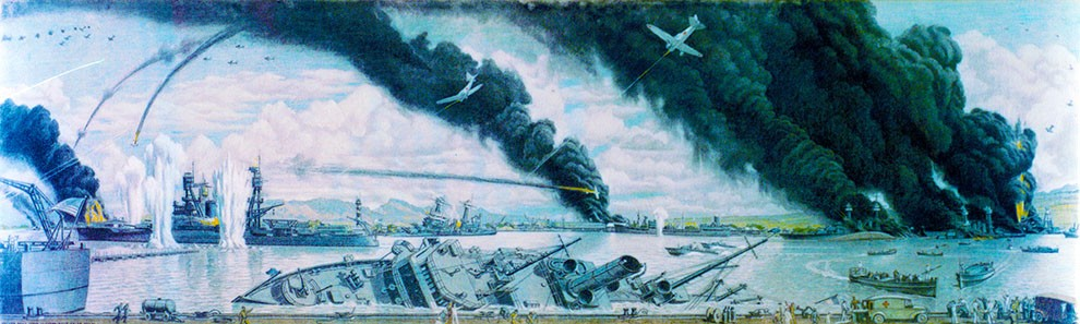 "KN-32031 (Color):  ""The Japanese Sneak Attack on Pearl Harbor"".  Charcoal and chalk by Commander Griffith Bailey Coale, USNR, Official U.S. Navy Combat Artist, 1944.   Courtesy of the HHC Navy Art Collection."