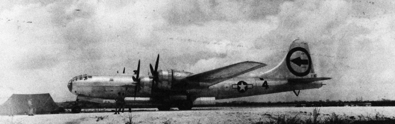 77-BT-67:   Tinian Island, August 1945.   Bockscar, 509th, Composite Bomb Group, Boeing B-29 Superfortress plane.  Official Photograph of the Office of the Chief of Engineers, now in the collections of the National Archives.