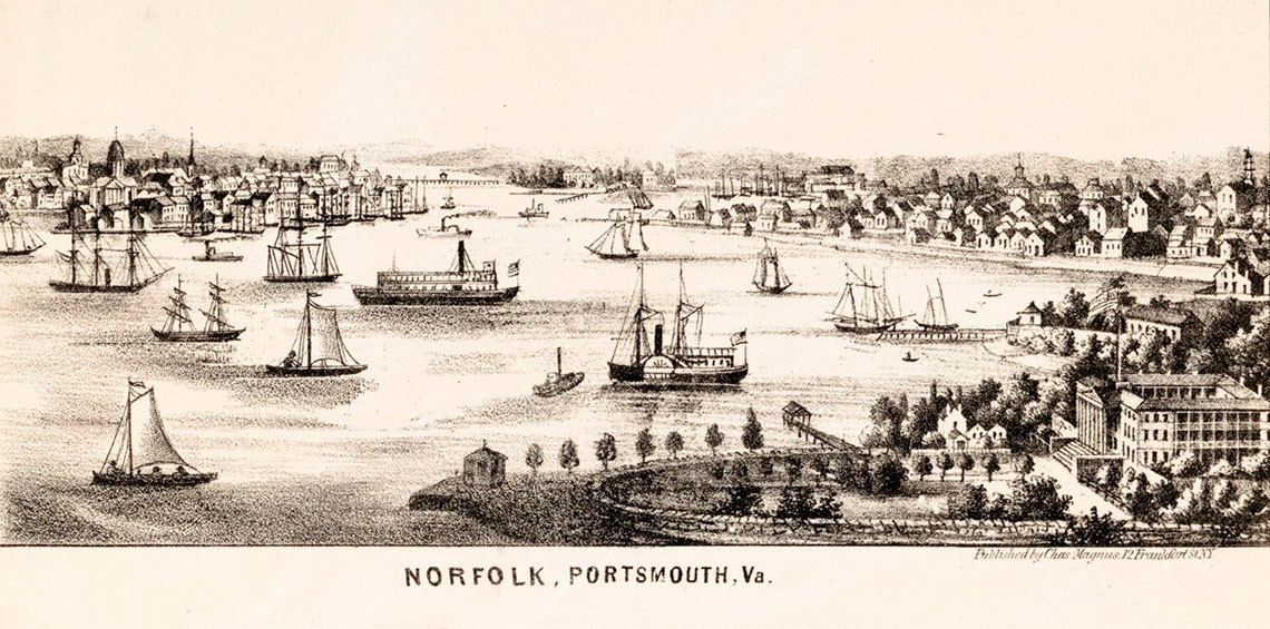 LC-DIG-PGA-11617:   Pictorial Lettersheet of Norfolk, Portsmouth, Virginia, by Charles Magnus, between 1850-1860.    Courtesy of the Library of Congress.