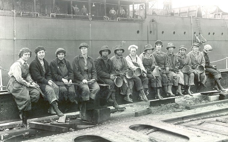 Female Rivet Heaters and Passers, 1919, Puget Sound Navy Yard