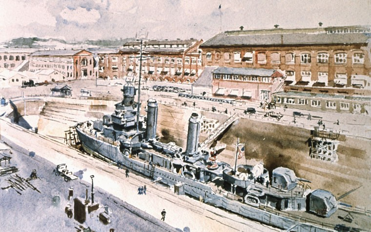 Destroyer in Dry Dock 2 at Puget Sound Navy Yard, 1942. Drawing by Vernon Bailey.