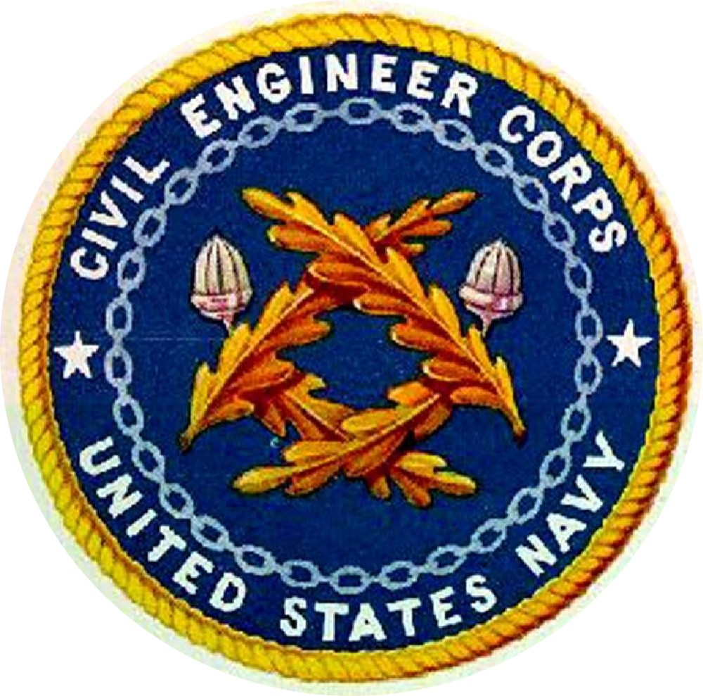 "Civil Engineer Corps logo after Navy Regulations changed the color from silver to gold, c. 1919. In 1905, the Civil Engineer Corps adopted two crossed silver sprigs, each composed of two live oak leaves and an acorn as their insignia in lieu of the original Old English letters ""C.E."" In 1919, uniform regulations specified that it the insignia be of gold instead of silver."