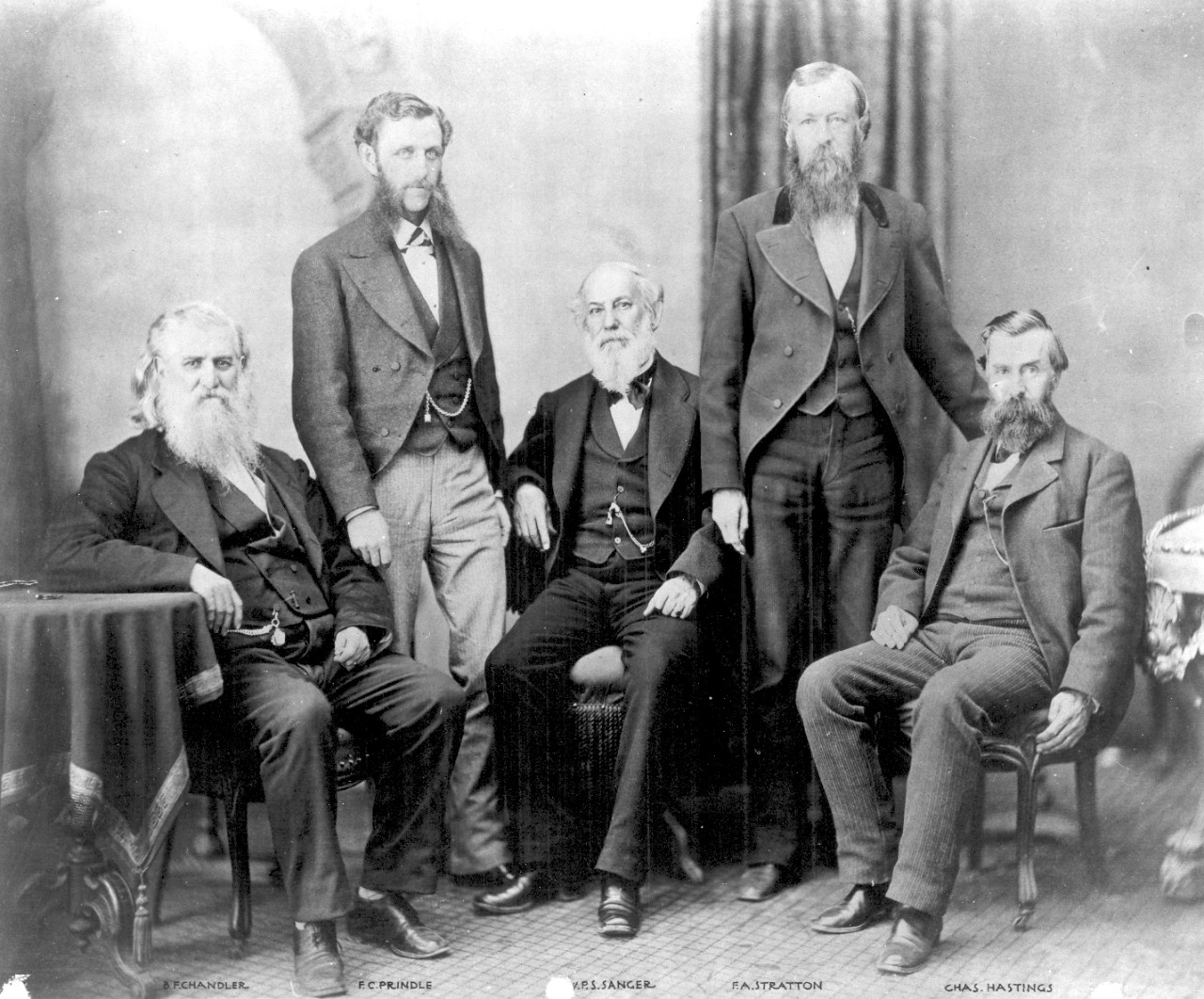 The first Navy Civil Engineer Corps officers: B.F. Chandler, F.C. Prindle, W.P.S. Sanger, F.A. Hastings, and Charles Hastings, c. 1860s. The Navy created the Civil Engineer Corps on March 2, 1867. The original duties of the Civil Engineer Corps included the charge, erection and repair of all buildings, docks, and wharves; supervising the architect, and directing all masters and other workers involved in building public works. Civil Engineer Corps officers were not required to wear a navy uniform until 1881 when the leaf insignia was created.