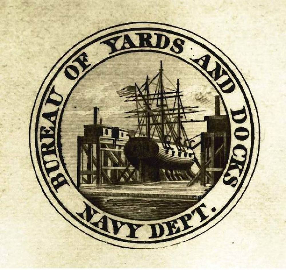 The Bureau of Yards and Docks logo, created c. 1862. In 1862, Congress approved extending the Navy Department bureau system by amending the titles of three of the existing bureaus and adding three additional bureaus. The only modification to the Bureau of Navy Yards and Docks was a shortening of its name to the Bureau of Yards and Docks.