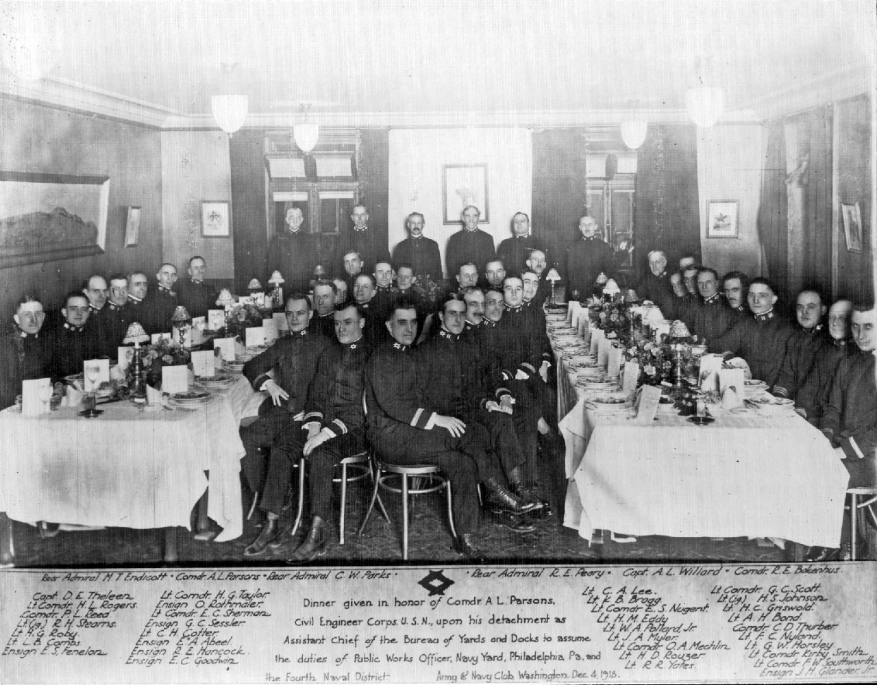 "Officer's Mess Night or ""Dining-in"" at the Army-Navy Club, Washington, D.C., December 4, 1913. The dinner was in honor of Commander Alan Parsons, CEC, USN, upon his detachment as Assistant Chief of the Bureau of Yards and Docks. Next, he assumed the duties as Public Works Offer at the Philadelphia Navy Yard."