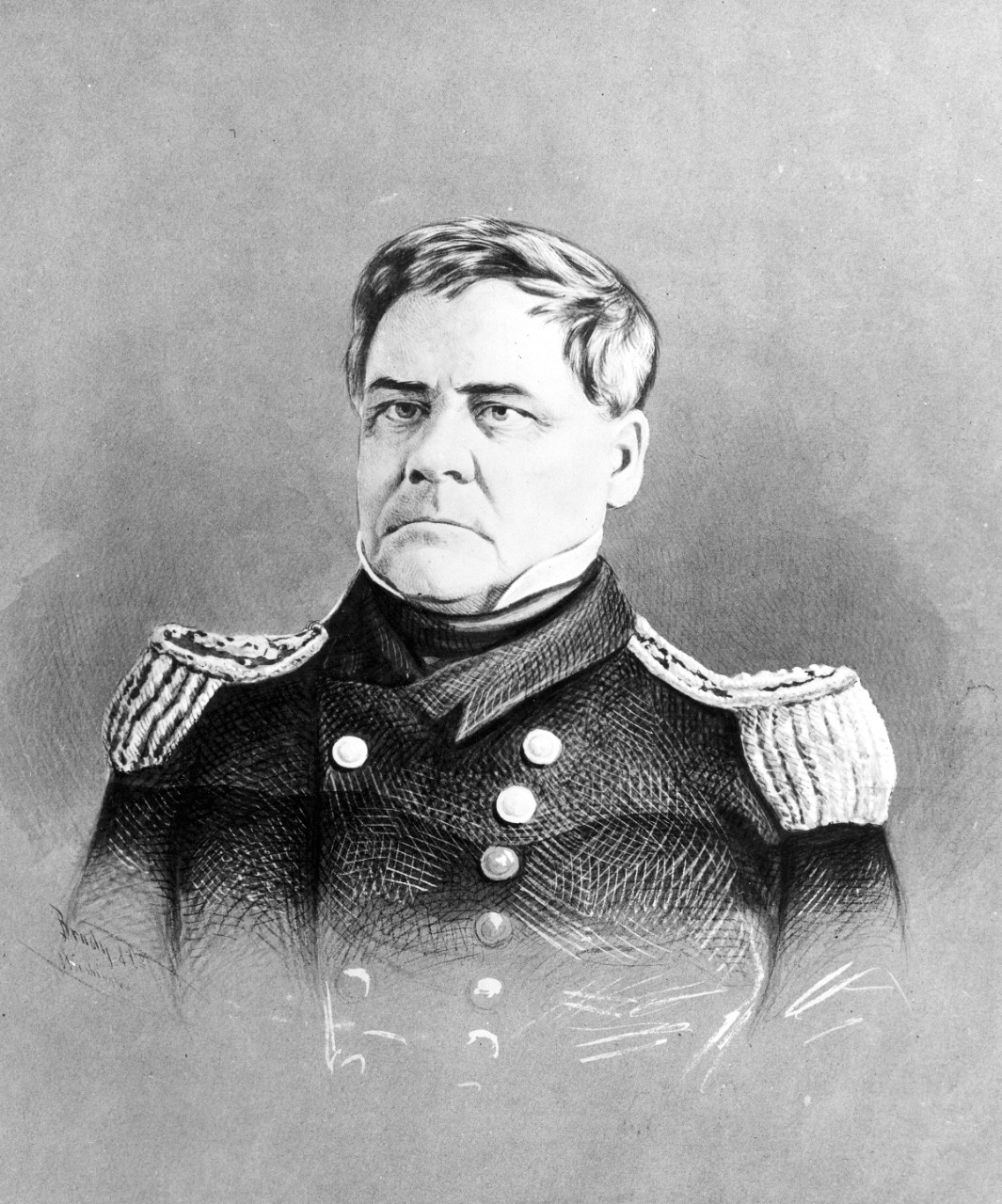 Commodore Lewis Warrington, the first Chief of the Bureau of Navy Yards and Docks. From 1826 to 1830, Commodore Warrington served as one of the three Navy Board commissioners, a body charged with the administration of naval affairs. Afterwards, Warrington returned to the Norfolk Navy Yard to serve as commandant. In 1840, the Navy reassigned to Washington to serve for another two years as commissioner on the Navy Board. After the Navy reorganized the department in 1842, Warrington became first Chief of the Bureau of Navy Yards and Docks.